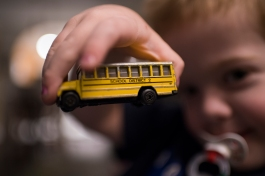 Lowlight school bus and binky