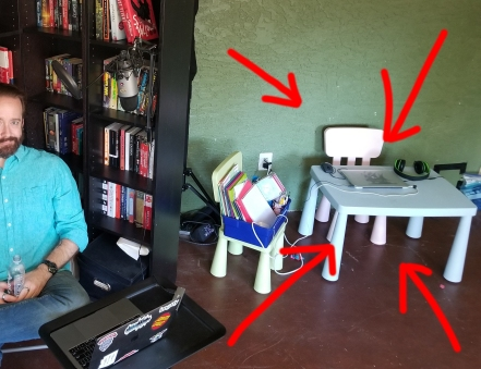 Evidence of kids in the space where I record videos and do video calls